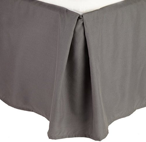 Rajlinen Luxury Egyptian Cotton Sateen Finish 600-Thread-Count King-Xl Size Dark Grey Solid Bed Skirt (+18 Inch) Pocket Depth