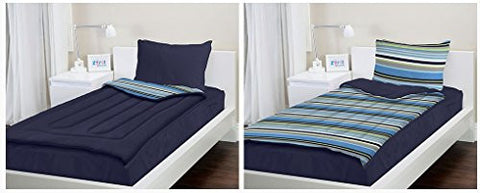 zipit bedding set navy stripes twin