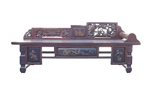 Chinese Vintage Fujian Scenery Carving Daybed Couch Chaise Acs1471