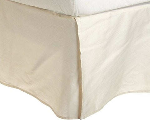 Rajlinen Luxury Egyptian Cotton Sateen Finish 650-Thread-Count Full-Xl Size Bed Skirt (+21 Inch) Pocket Depth Ivory Solid
