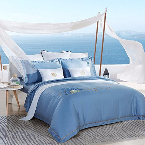 Super Soft 4-Piece Bedding Set,Wrinkle, Fade & Stain Resistant, The summer blue sea Mediterranean style, pure cotton satin four piece,blue,Queen