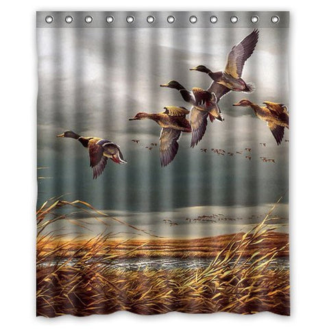 Mallard Ducks Fly In Sky Polyester Bathroom Shower Curtain 60(W)x72(H) Comfortable For Life