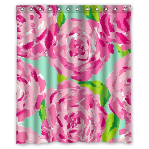 "Lilly Pulitzer Pink Prints Flower Custom Shower Curtain 60"" x 72"""
