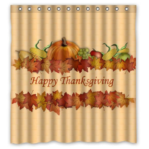 "66""(W) x 72""(H) - Happy Thanksgiving day Harvest Festival Shower Curtain 100% Waterproof Polyester Bathroom Curtain,Shower Rings Included"
