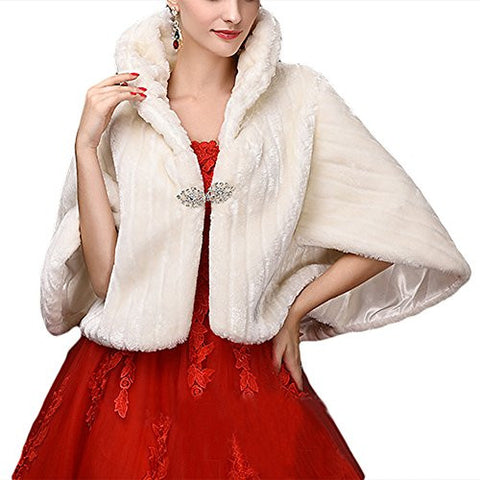 Faux Fur Shawls Wraps Wedding Coat for Women Girls Winter Stoles Wedding Jacket