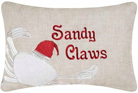 8x12-inch Embroidered Christmas Decorative Pillow, Sandy Claws Crab