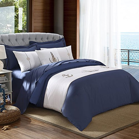 Super Soft 4-Piece Bedding Set,Wrinkle, Fade & Stain Resistant, The Mediterranean sea bed four pieces, simple and pure cotton satin four sets of Nordic Europe,Blue and white B,QUEEN