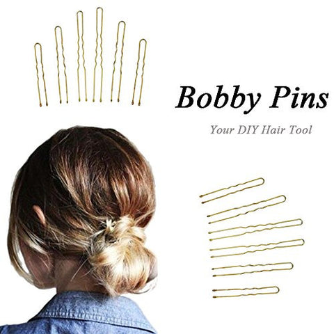 Skango(TM) 300Pcs/Set Golden Metal Thin U Shape Bobby Pins Hairpins Hair Clips for Beauty Women Hair Styling Tools Hair Ornament 3 Size