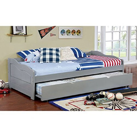 Twin Sized Daybed w/ Trundle, Platform Bed, 79.125W x 41.375D x 23.25H in., Living Room or Bedroom, College Dorm Room Sofa / Bed w/ Wide Deep Frame + Free Ebook (Gray)