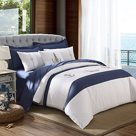 Super Soft 4-Piece Bedding Set,Wrinkle, Fade & Stain Resistant, The Mediterranean sea bed four pieces, simple and pure cotton satin four sets of Nordic Europe,Blue and white A,QUEEN