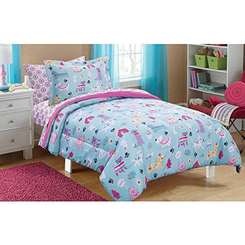 7 Piece Aqua Blue Pink Puppy Love Dogs Comforter Set Full Size