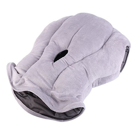 ostrich portable travel pillow for airplane train and office sleeping helper gray