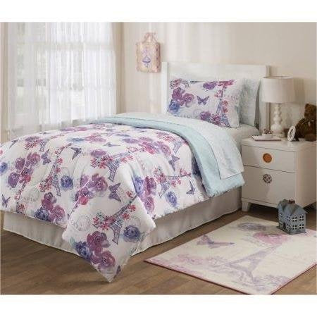 5pc Girls I Love Paris Comforter Twin Set, Pink Purple Blue White, Eiffel Tower Themed Bedding, France Inspired