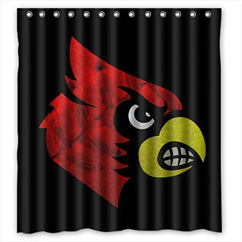 Home&Family Custom Louisville Cardinals High Quality Bathroom Shower Curtain with Rings 66 x 72 Inches