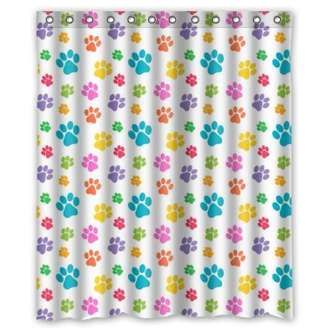 "Creative Home Ideas Colorful Dog Paw Art Pattern Animal Paw Print Fabric Shower Curtain with Hook 60"" x 72"""
