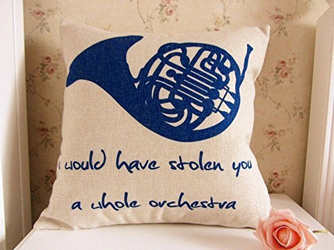 45 x 45CM How I Met Your Mother Blue French Horn Linen Cushion Cover Pillowcase ;FW892HJT23T425265