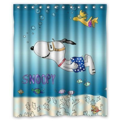 Hot Sale Shop Snoopy in the Sea Shower Curtain Custom Waterproof Bath Curtain 60x72