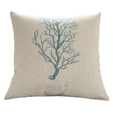 "Pillow Cases Standard Size, CaseShell® Coral Tree Pattern Cotton Linen Square Throw Pillow Case Decorative Cushion Cover Pillowcase Pillowslip for Sofa 18""x18"""