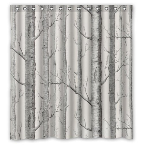 "Fashionable Bathroom Collection-Custom Waterproof Birch Tree Shower Curtain (66"" x 72"") With 12 holes-354"