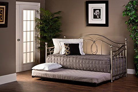 Hillsdale Milano Metal Daybed with Suspension Deck Frame and Trundle, Rope Design Accents