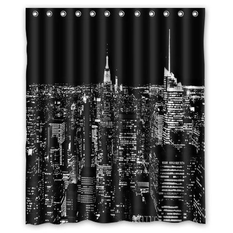 "New york city skyline at night Shower Curtain, Shower Rings Included 100% WaterProof Polyester Fabric 60"" x 72"" Bath Shower Curtain"