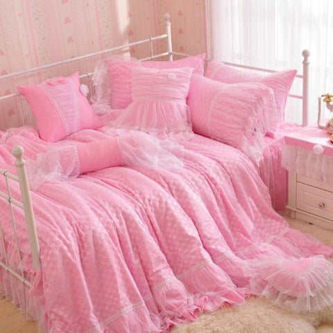 Norson New Arrival Princess Pink Blue Ruffle Bedding, Girls Lace Duvet Cover Set, Children Twin Queen King Bed Skirt, 4pc (Pink, Twin)