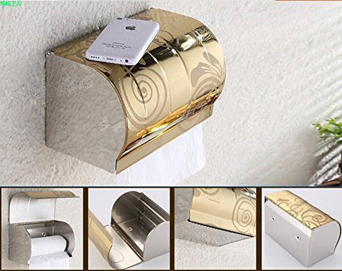 Stainless Steel Toilet Roll Tissue Holder | Toilet Paper Storage Box, Prevent from Water Splashing, Flat Top Can Place Cell Phone (Gold Large)
