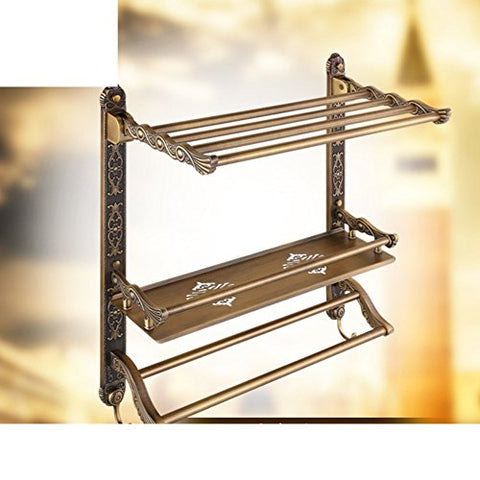 Continental carved retro folded towel rack/Bathroom Shelves/With towel bar/Metal pendant-F