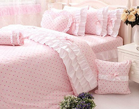 Norson Pink Polka Dot Bedding Twin Pink Ruffle Bedding Twin 100% Cotton Made (Twin)