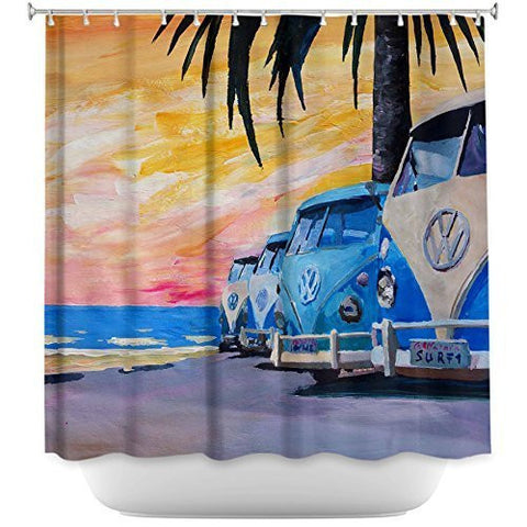 Tea Nest Designs Mildew and Wrinkle Resistant Shower Curtains by Markus Bleichner Blue Vw Bus Line Bathroom 66X72
