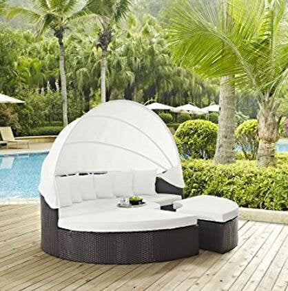 LexMod Quest Circular Outdoor Wicker Rattan Patio Daybed with Canopy (BW)