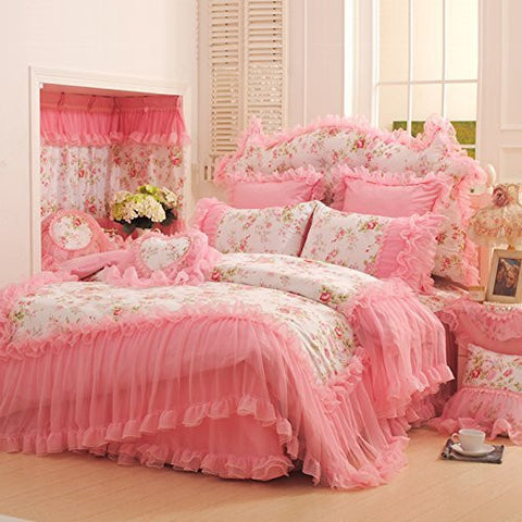 Auvoau Home Textile,korean Pink Lace Ruffle Bedding Set,romantic Pink Rose Floral Print Bedding Set,princess Girls Fairy Bedding Sets Queen Size (Full, Pink)