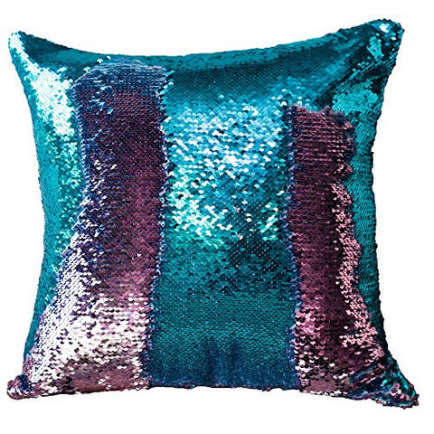 Hangood Throw Pillow Case Paillette Mermaid Sequin Decorative Cushion Covers Green And Pink 40cm x 40cm