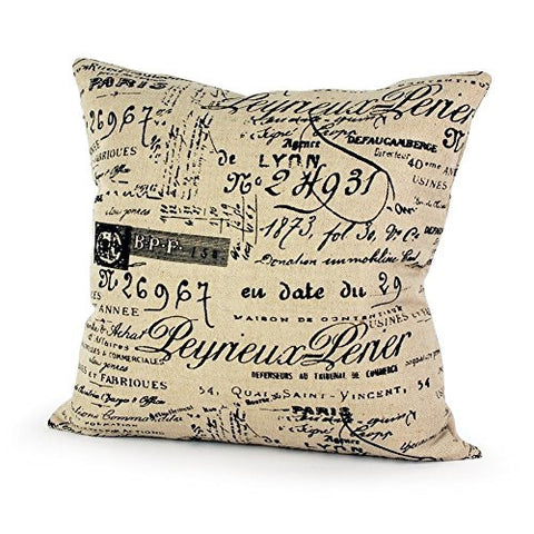Pillow Cases Standard Size, CaseShell® Vintage Khaki Background Words Pattern Ramie Cotton Square Throw Pillow Case Decorative Cushion Cover Pillowcase Pillowslip for Sofa 16x16 Inch