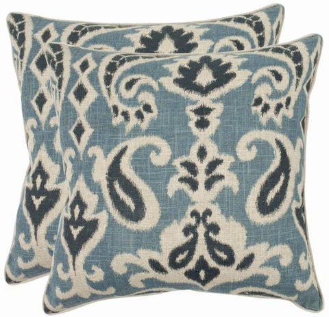 safavieh pillow collection 18inch paisley pillow blue set of 2
