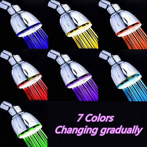SWE Multicolor Bathroom 7 Colors Automatic gradual Changing Water Glow LED Light Shower Head