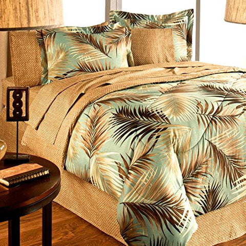 TROPICAL PALM TREE LEAF/LEAVES OCEAN BEACH Coastal Bedding Comforter Set Bed in a Bag (KING SIZE)