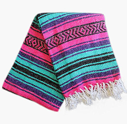 Del Mex (TM) Mint Seafoam, Pink and Purple Mexican Blanket Vintage Style (Festiva)