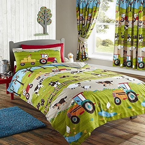 farm yard animal pig dog cow sheep tractor single duvet quilt cover bedding set by kids