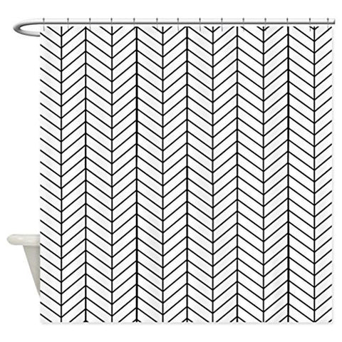 Zzdreamzz Black And White Herringbone Waterproof Fabric Polyester Bathroom Shower Curtain 60(W) X 72(H)