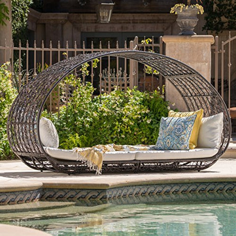 Bedford Outdoor Wicker Overhead Canopy Daybed w/ Water Resistant Cushion (Multibrown/White)