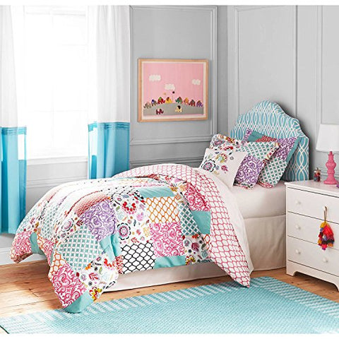 3pc Girls White Pink Boho Patchwork Comforter Full Queen Set, Kids Bedding Bedroom Floral, Purple Teal Damask Trellis Design Shabby Chic Moroccan Pattern, Modern Cheerful Teen Themed Polyester