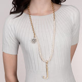 White Pearl Plaza Chain Necklace