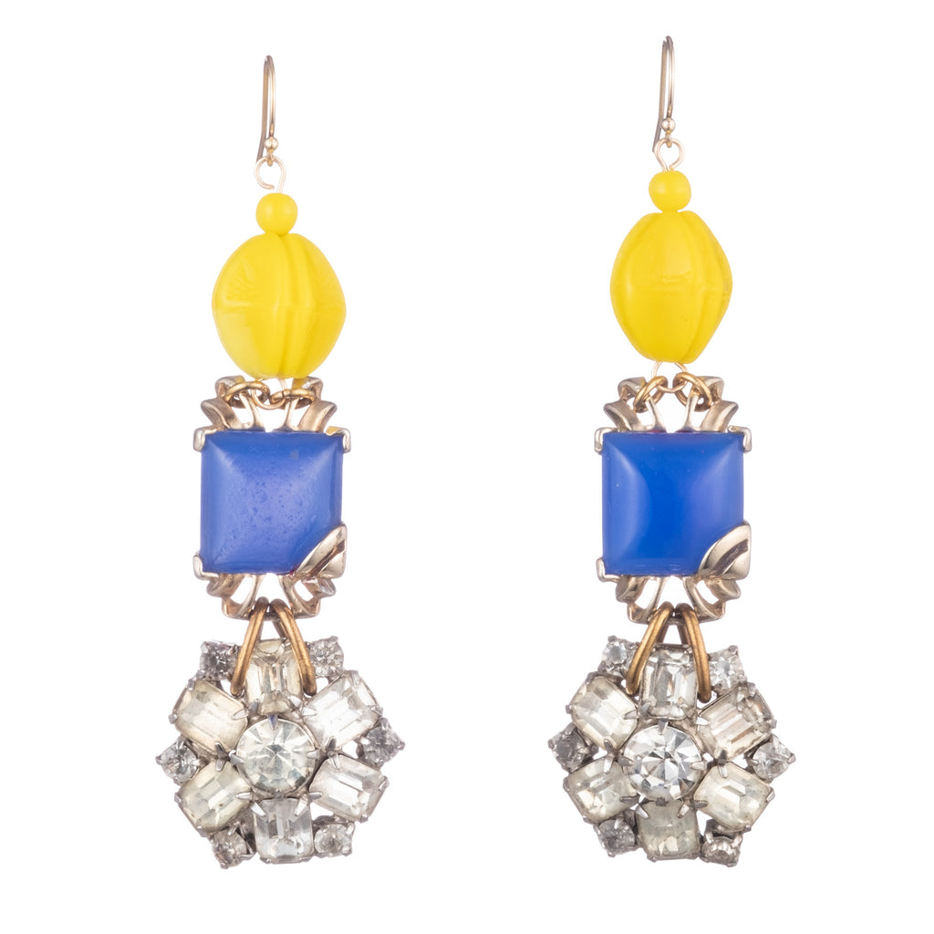 Vintage Canary Glass & Azure Lucite Earrings - Photo