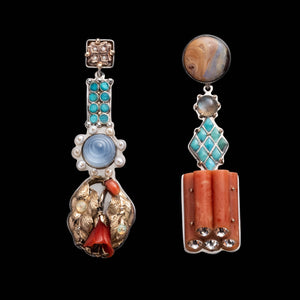 Fine Vintage Large Totem Earrings - Coral Stack Turquoise - Thumbnail