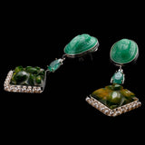 Fine Vintage Three Part Post Drop Earrings - Scarab Emerald