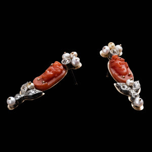 Fine Vintage Stud - Coral Cameo - Thumbnail
