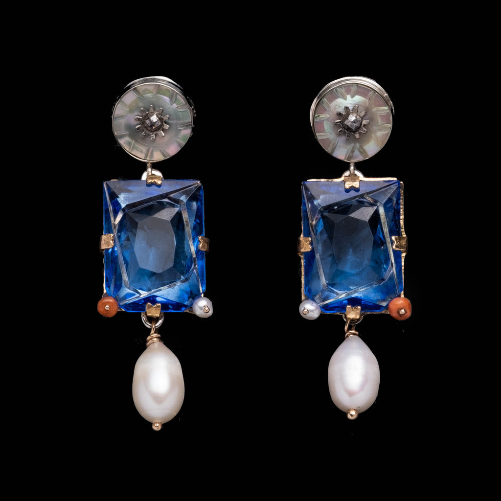Fine Vintage Small Post Drop Earring - Blue Crystal Pearl