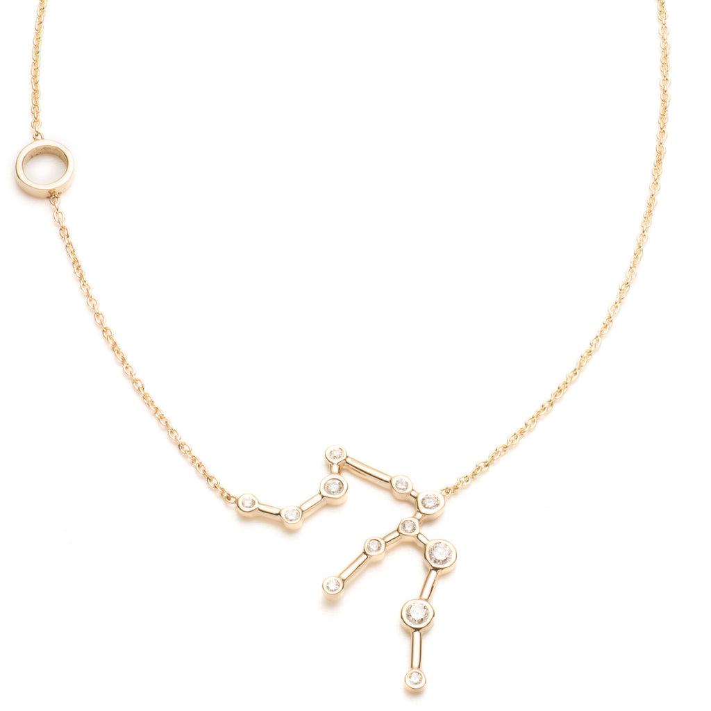Zodiacs 14K & Diamond Aquarius + Air Necklace