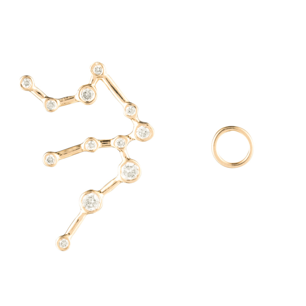 Zodiacs 14K & Diamond Aquarius + Air Stud Set